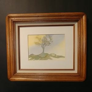 Watercolor Lonely Tree by V.Carted Framed